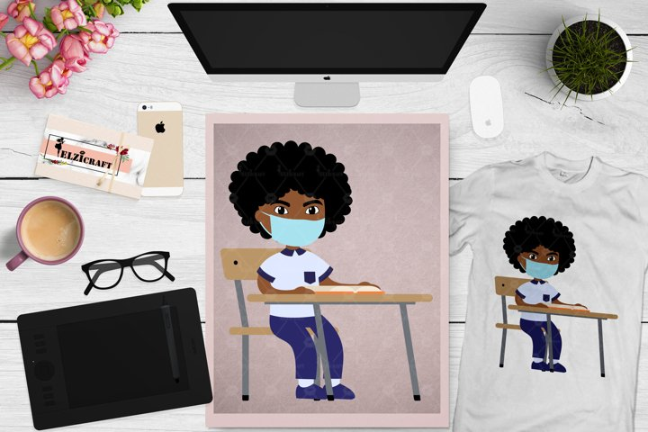 Afro Boy, Back to school, Face Mask, Classroom SVG Cut File