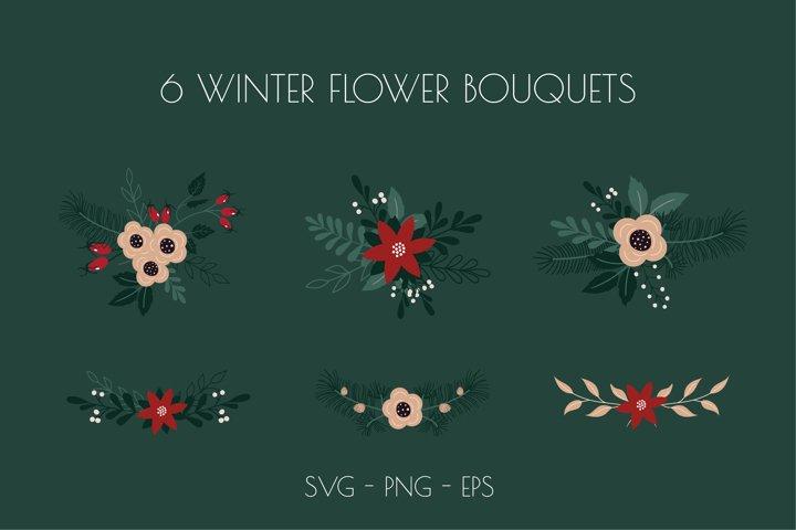 Winter Flower Bouquet SVG, Floral Arrangement SVG, botanical