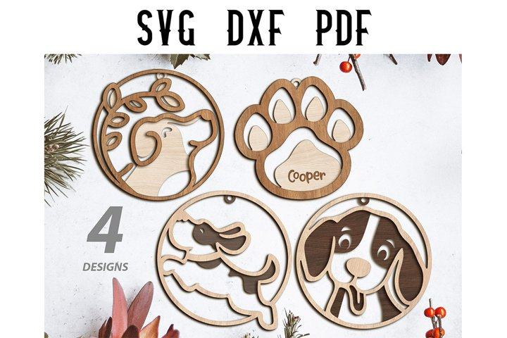 SVG - 4 Dog Christmas Ornaments Cutting Files - SVG DXF