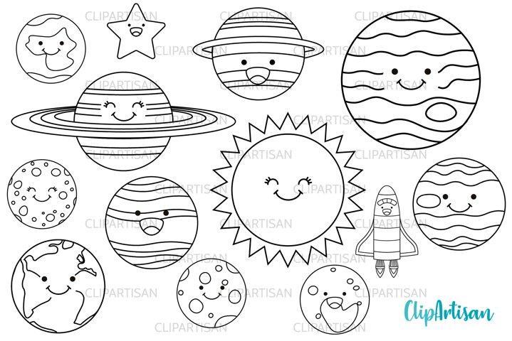 Kawaii Happy Planets Digital Stamps