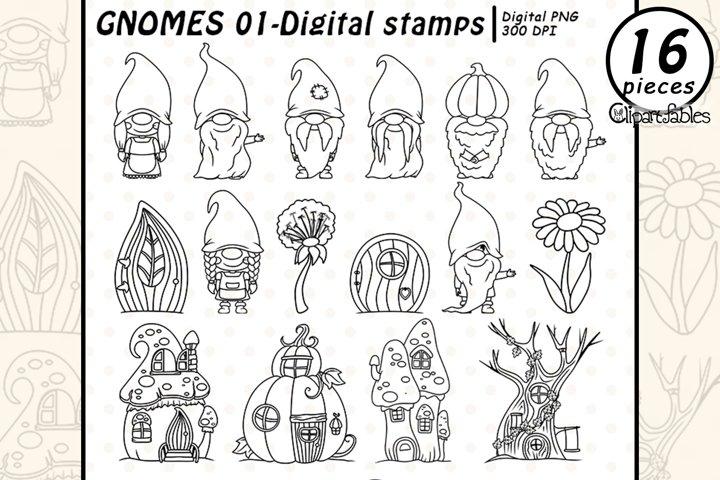 Cute GNOME DIGITAL STAMPS, Woodland clip art, Gnome friends