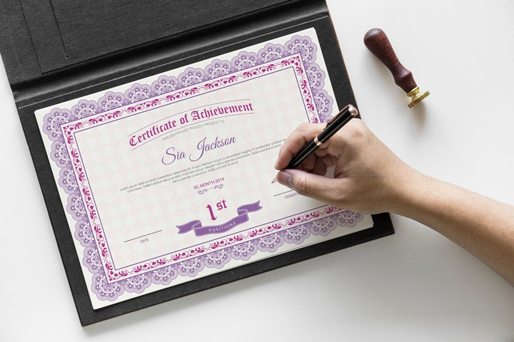Certificate of Achievement, MS Word & Photoshop Template