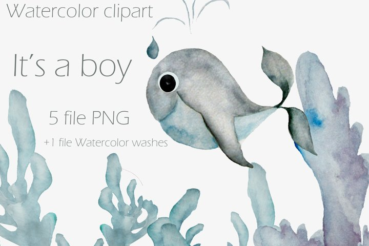 Its a boy whale clipart.Baby boy. Gifts
