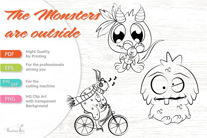 3 Cute Monsters - Cut File for Crafter