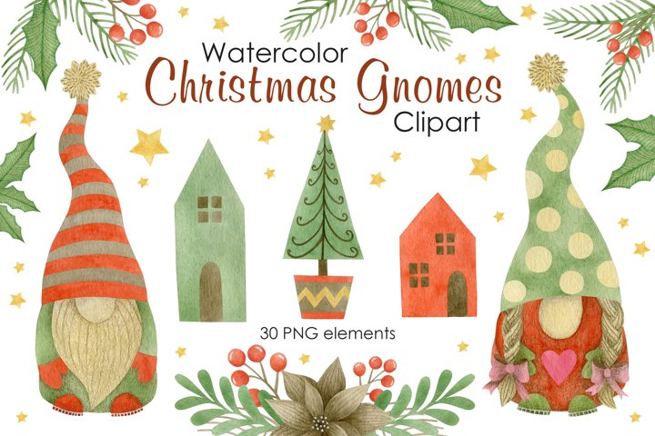 Christmas Gnomes Watercolor clipart.