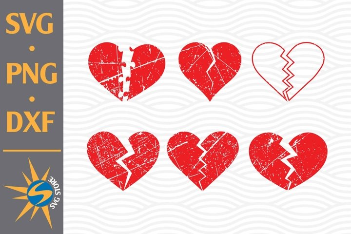 Distressed Broken Heart SVG, PNG, DXF Digital Files Include