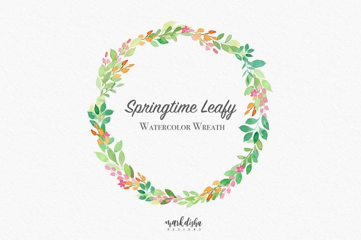 Springtime Leafy Watercolor Wreath