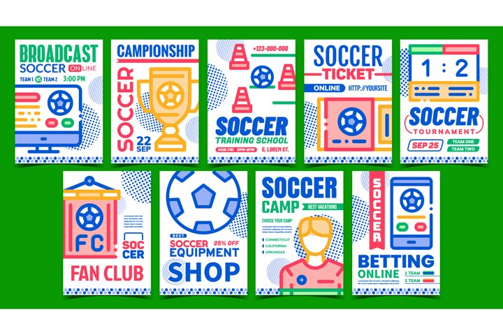Soccer Collection Promotional Posters Set Vector
