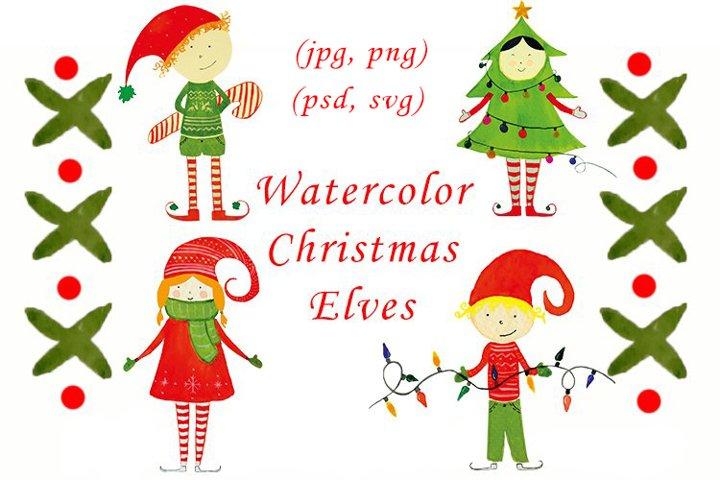Bundle of Watercolor Christmas elves