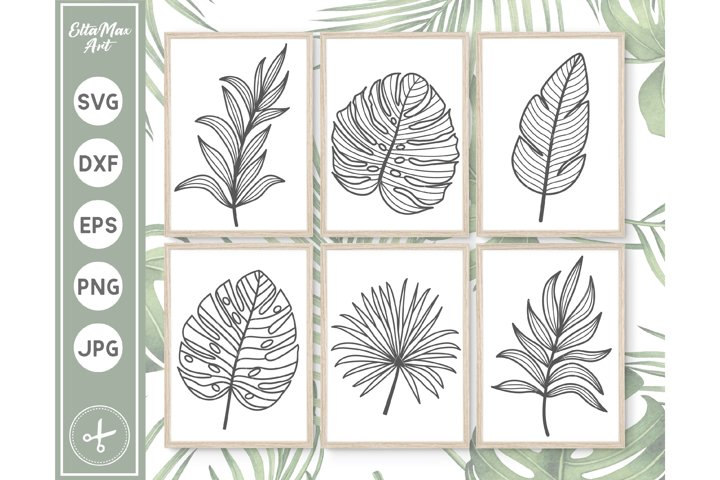 Tropical Leaves SVG, Hand Drawn clipart, Palm Leaves SVG PNG