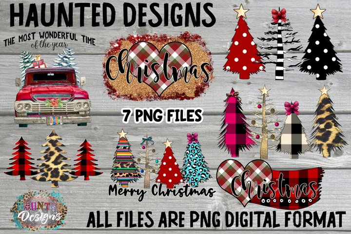 Christmas Tree Sublimation Bundle Clip Art Design