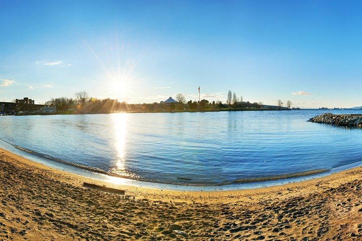 Panoramic view from the sandy beach side