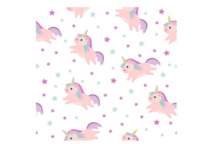 seamless pattern with cartoon character unicorn EPS 10