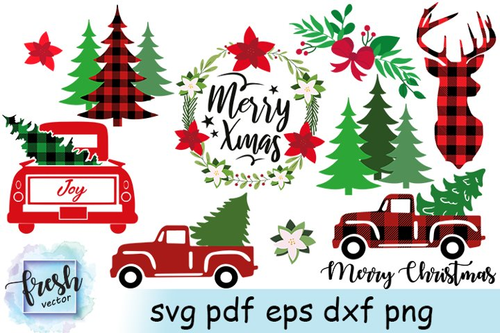 Christmas Truck Svg Bundle Merry Christmas Svg Buffalo Plaid
