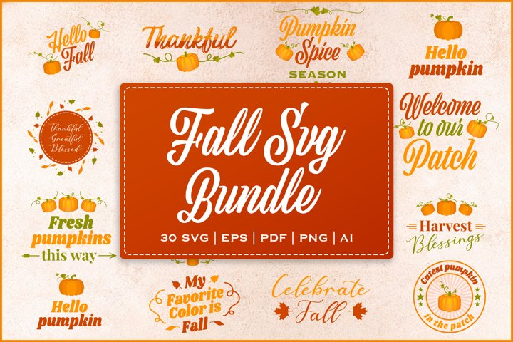Fall SVG bundle with bonus elements