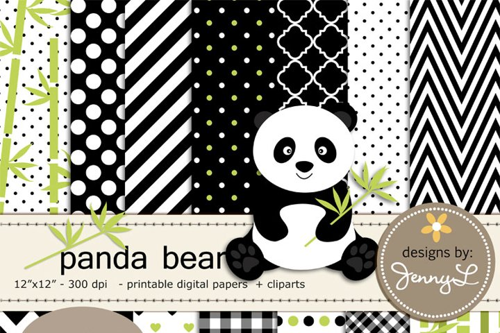 Panda Bear Digital Papers and panda Clipart, Bamboo