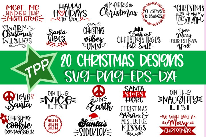 Christmas Bundle svgs, Holiday Cutting File Bundle png eps
