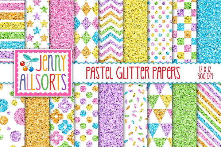 Pastel glitter digital papers, 18 sweet candy color patterns