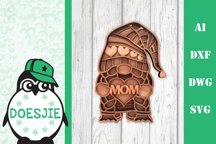 Girl Gnome SVG mandala Mothers Day 3D Layered Multi layer g
