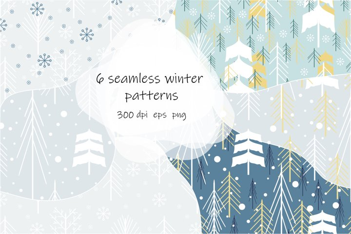 Set of 6 seamless patterns with winter forest