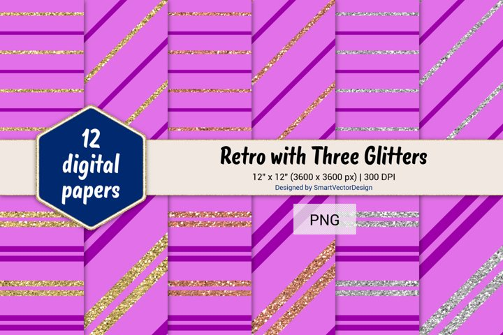 Pinstripes Retro with Three Glitters Color Combo #97