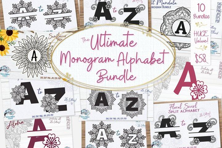 Ultimate Monogram Alphabet Bundle | 10 Sets of Alphabet SVGs