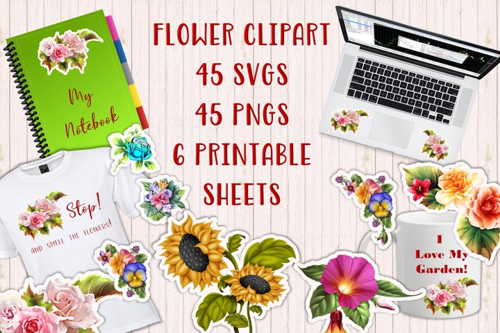 90 Flower Clipart and Decoupage SVG JPEGs and PNGs