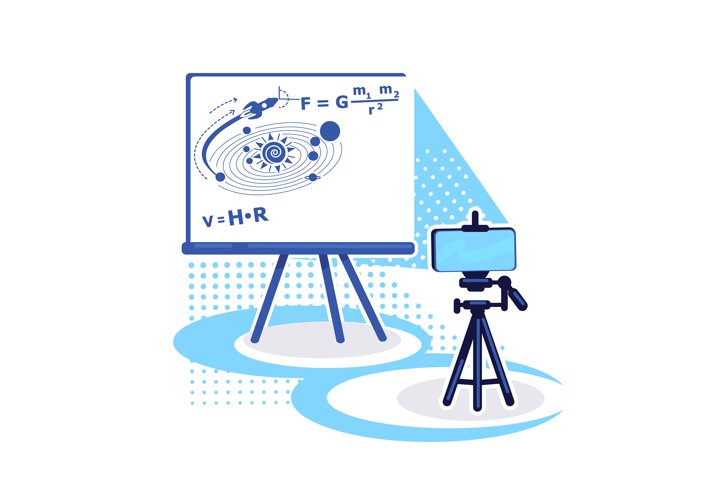 Streaming setup for e learning flat color vector object