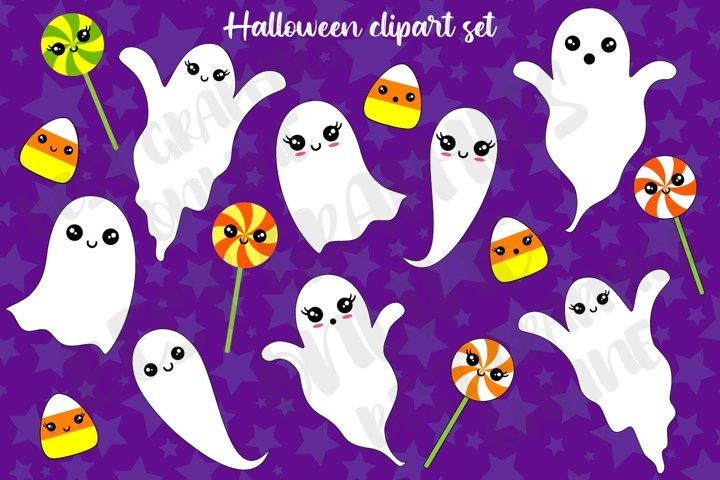Halloween clipart Ghost clipart Candy corn Lollipop clip art