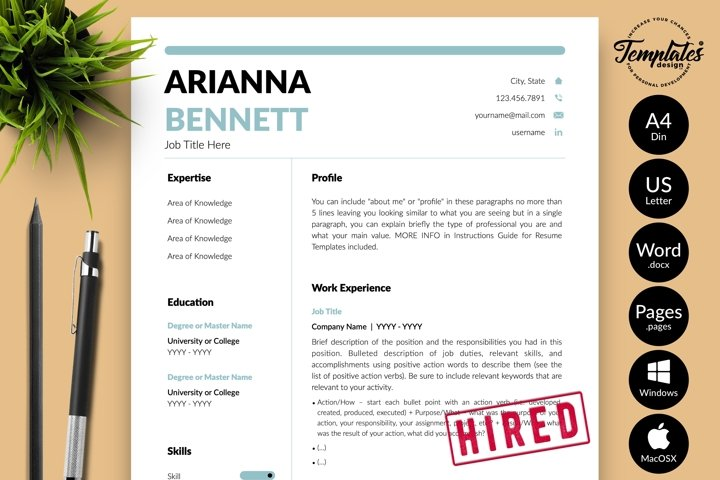 Simple Resume CV Template for Word & Pages Arianna Bennett