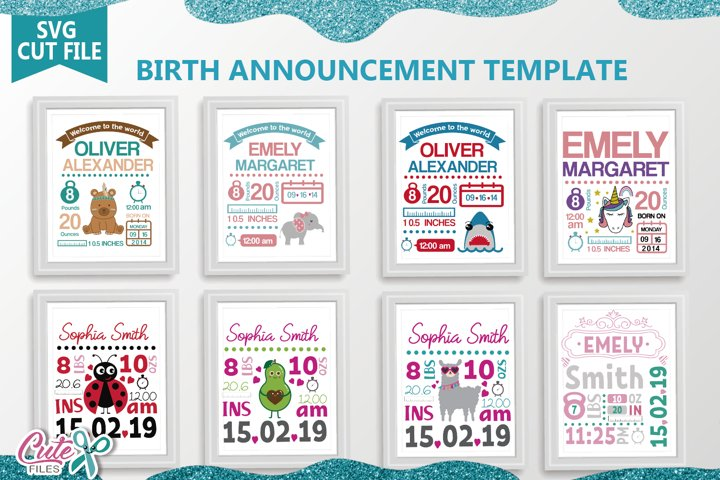 Baby Birth Announcement Template svg bundle