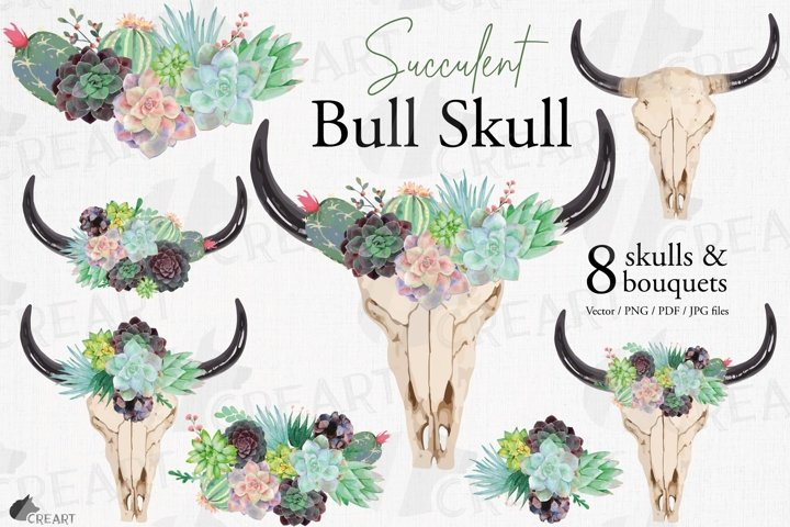 Succulent garden bull skull watercolor floral decor design.