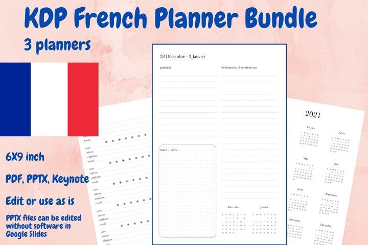 KDP French Planner Bundle, 3 planners in PDF, PPTX, Keynote