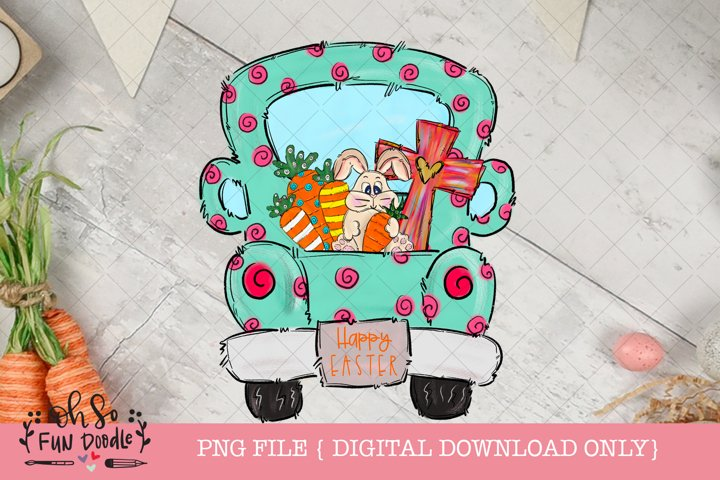 Easter truck with bunny cross and carrots t, sublimation png