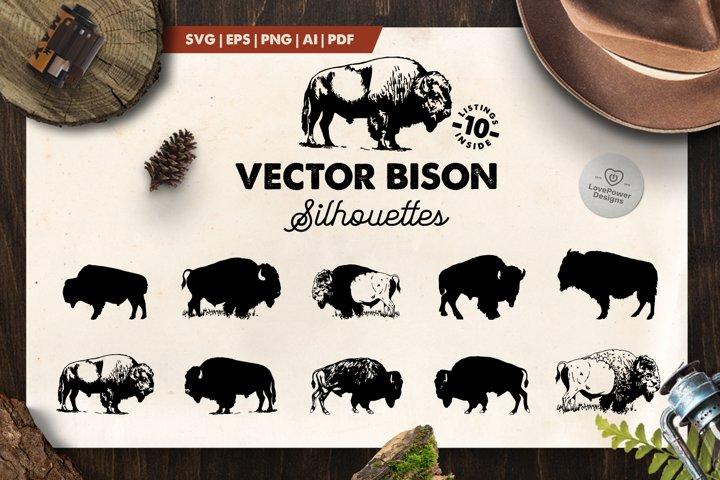 Bison Silhouette | 10 Vector Bison Silhouettes | Bison SVG