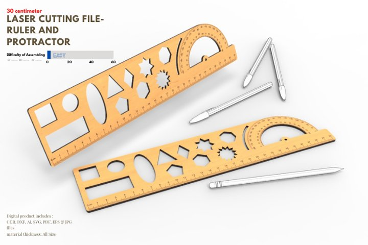 Ruler and Protractor- laser cutting file