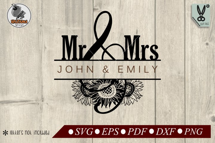 Mr & Mrs split monogram SVG, sun flower, wedding name