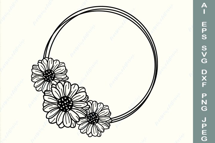 Daisy wreath svg, Floral border svg, Wildflower circle frame