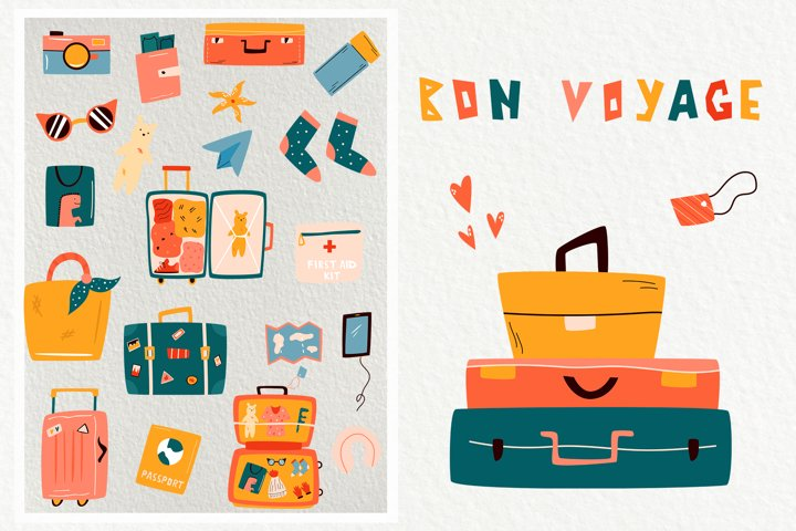 Travelling Set. Pre-made compositions and colorful icons