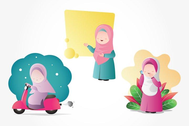 Muslim Hijab Girls Clip Art Set