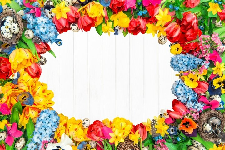 Flowers easter eggs Floral frame template Stock photo