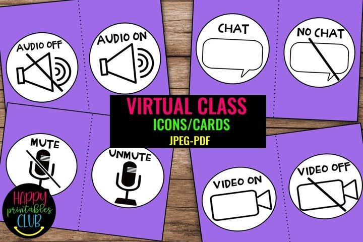Virtual Meeting Icons/ Signs- Virtual Classroom Icons