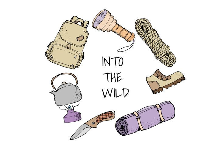 Set of 11 colored camping tools illustrations