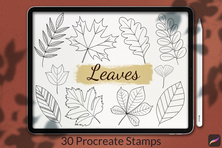 30 Leaves Stamp Brushes for Procreate, Autumn Collection