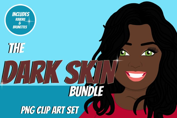 Dark Skin Woman Clip Art Bundle | Female Avatar | Graphic