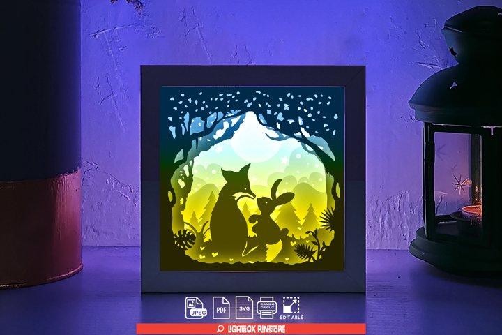 121 Fox Love Rabbit valentines day, 3d paper cut light box