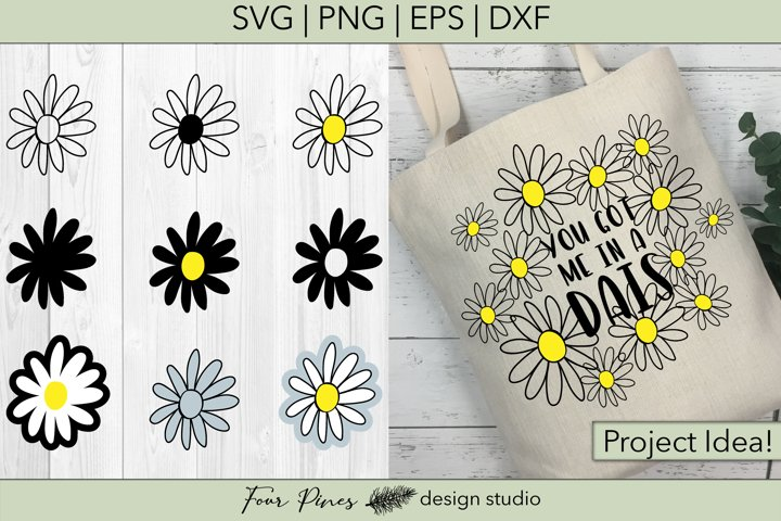 Daisy Flower Bundle - 9 Hand drawn flowers SVG png eps dxf example 1