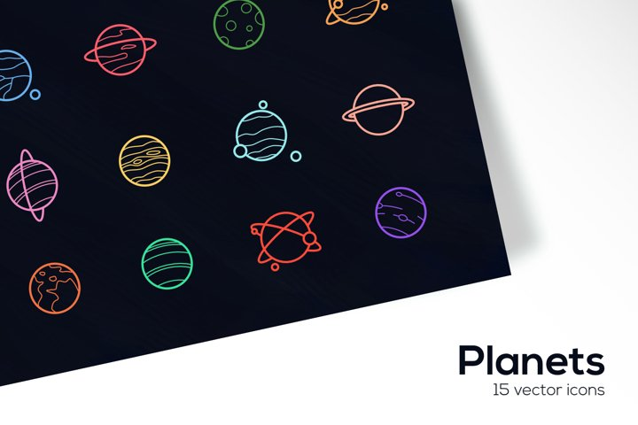 Planets Icons Set