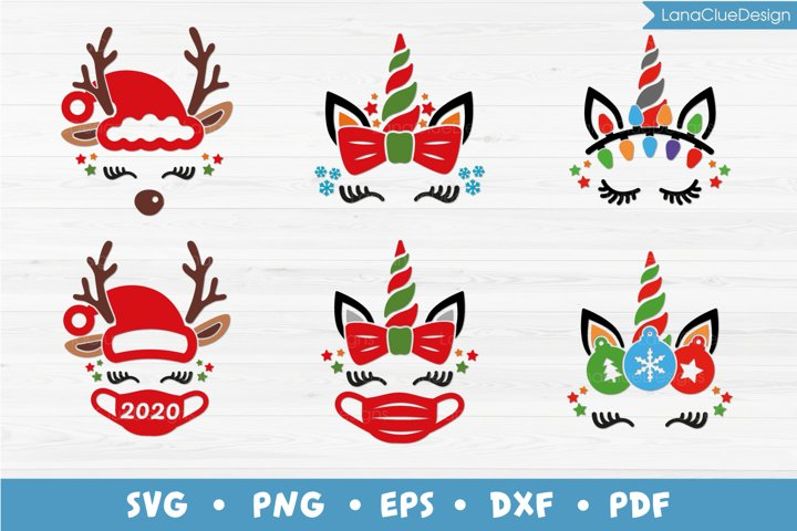 6 Christmas Unicorn and Reindeer Faces - SVG PNG DXF EPS PDF