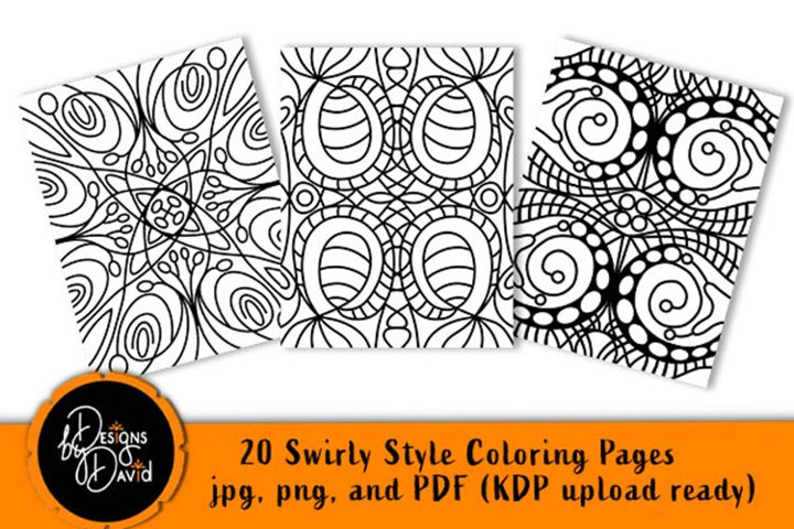 Swirly Style Coloring Pages - Printable PDF. PNG, JPG files